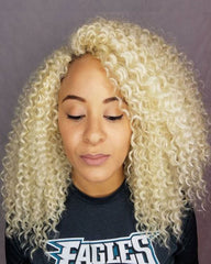 Remy Human Hair Deep Curly Short Bob 13x4 Lace Front Wig 613#