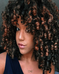 Afro Wig Synthetic Kinky Curly Dark Brown Wig With Bangs 2 Tone Brown Mixed Blonde Color