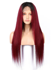 Human Hair Straight 13x4 Lace Frontal Wig 8-26inch 1B/99J Color