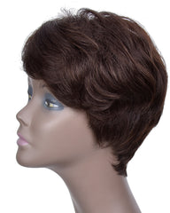 Remy Short Human Hair Wig None Lace Hair Wig 4inch #2 Color