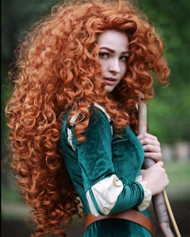 Synthetic Wig Long Hair Curly Wavy Full Head Halloween Wigs Cosplay Costume Party Hairpiece Fox Red