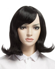 Short Wavy Black Wigs for Women Synthetic Hair Cosplay Medium Length Wig Black Color 16inch