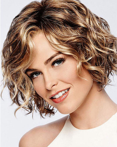 Short Brown Mixed Blonde Bob Hair Wigs Natural Looking Synthetic Full Wig Fashion Daily Party Costume Wigs with Wig Cap Brown Mixed Blonde