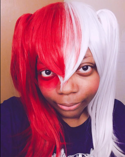 Straight Cosplay Wig Half Silver White Half Red Cosplay Wig for Halloween
