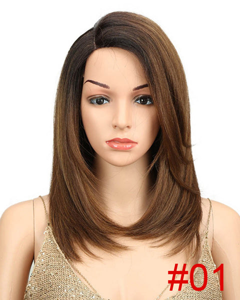 Short BOB Wig For Women Synthetic Hair Side Part Lace 18 Heat Resistant High Temperature Fiber Glueless Ombre Straight Wig
