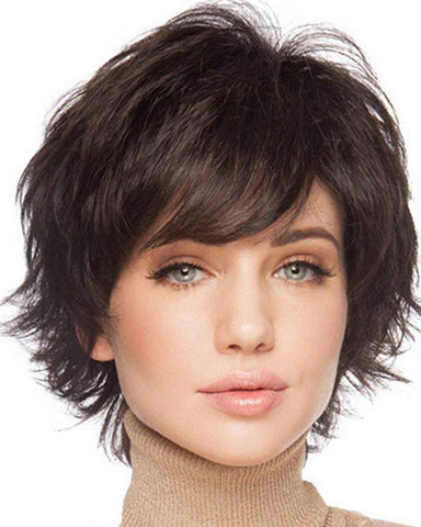 Natural Short Wigs for Women Human Hair Dark Brown
