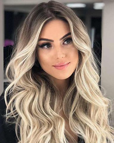 Ombre Blonde Remy Human Hair Body Wave 13x6 Lace Frontal Wig 20-24inch 1B/613 Color