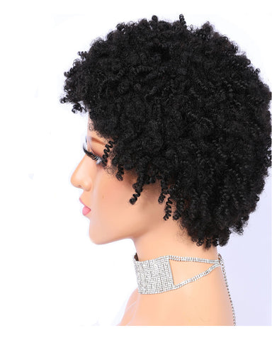 Remy Short Human Hair Kinky Curly Wig None Lace Hair Wig 6inch Natural Color