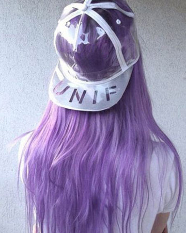 Synthetic Straight Hair 13x6 Lace Frontal Wig 20-26inch Purple Ombre White Color Fiber Hair Wigs