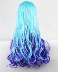 Women Long Curly Gradient Blue and Purple Party Cosplay Costume Wig with Side Bang