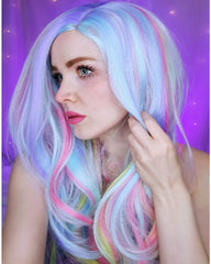 Long Curly Multi-Color Charming Full Wigs for Cosplay Girls Party or Daily Use Wig Cap Included