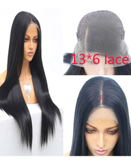 Synthetic Straight Hair 13x6 Lace Frontal Wig 18-26inch Natural Color Fiber Hair Wigs