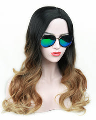 Ombre Wig Black to Light Brown Long Wavy Wig Heat Resistant Synthetic Wig for Women