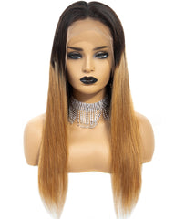 Ombre Remy Human Hair Straight 13x4 Lace Frontal Wig 8-26inch 1B/27 Color