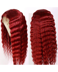 Remy Human Hair Deep Wave Hair 13x6 Lace Frontal Wig 8-26inch 99J Color