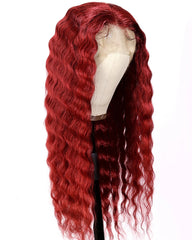 Remy Human Hair Deep Wave Hair 13x4 Lace Frontal Wig 8-26inch 99J Color