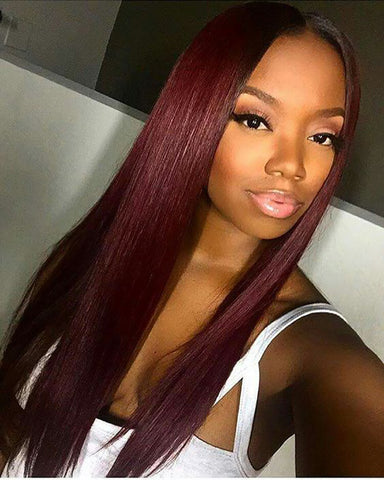 Remy Human Hair Straight 13x6 Lace Frontal Wig 8-26inch 99J Color
