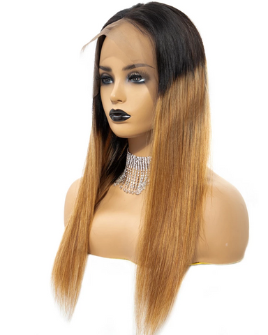 Synthetic Straight Hair 13x6 Lace Frontal Wig 22-24inch 1B/30 Color Fiber Hair Wigs