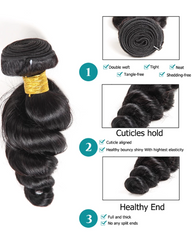 Remy Braziian Loose Wave Human Hair One Bundles 8-30inch Natural Color