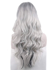 Silver Grey Costume Wigs for Women Halloween Curly Long Wavy Fashion Cosplay Ombre Black Mix Gray Hair Wigs with Wig Cap