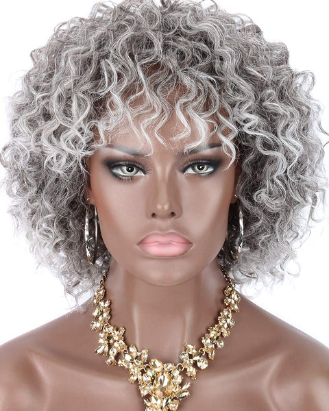 Synthetic Short Deep Curly Wigs for Black Women Realistic Ombre Grey Curly Wigs with Hair Bangs 8inch