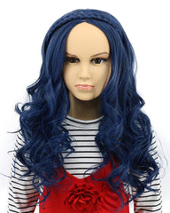 Child Kids Long Wave Blue Wig Halloween Cosplay Wig Anime Costume Party Wig
