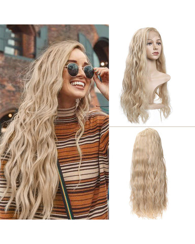 Long Loose Curly Wig for Women Synthetic Wigs Heat Resistant Fiber Wigs Side Middle Part 24inch Blonde Color