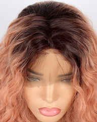 Short Bob Lace Front Wig Synthetic Ombre Dark Roots to Auburn Wig Glueless Wave Hair Heat Resistant Fibers Bob Wig 14inch