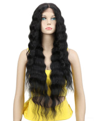 Long Wavy Synthetic Wigs For Black Women 130% Density Wigs Lace Front Wigs 30inch Black Color