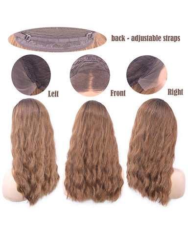 Synthetic Wig Fiber Wave Hair Lace Front Bronw Wig for Women Dark Rooted Brown Wigs Mixed Blonde Lace Wigs 18 inch