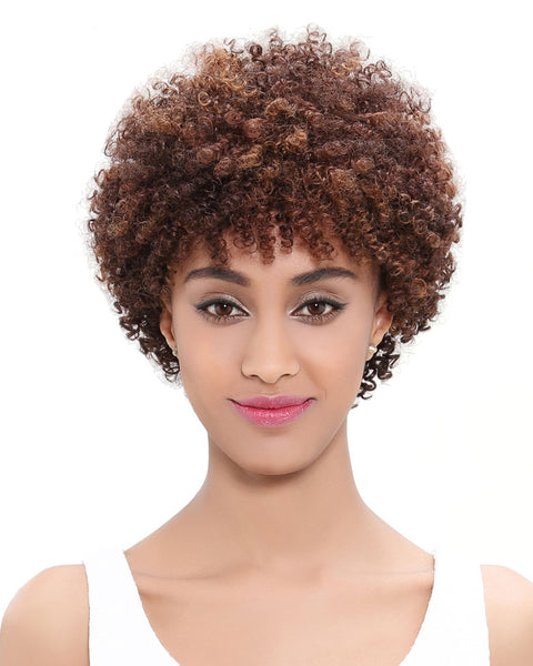 Ombre Remy Short Human Hair Curly Wig None Lace Hair Wig 10inch 1B/30 Color