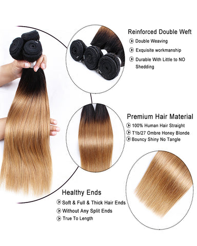 Remy Brazilian Ombre Human Hair 3 Bundles Weaves with 4x4 Lace Closure Straight Hair 1B/27 Color