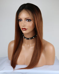 Ombre Remy Human Hair Straight 13x4 Lace Frontal Wig 8-26inch 1B/30 Color