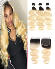 Remy Brazilian Ombre Human Hair Bundles Weaves with 4x4 Lace Closure Body Wave Hair 1B/613 Color