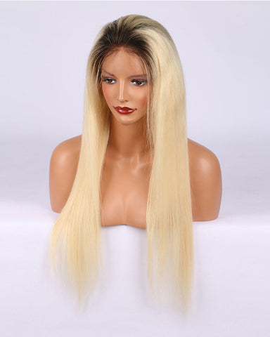 Remy Human Hair Straight Full Lace Wig 16-24inch 1B/613 Color
