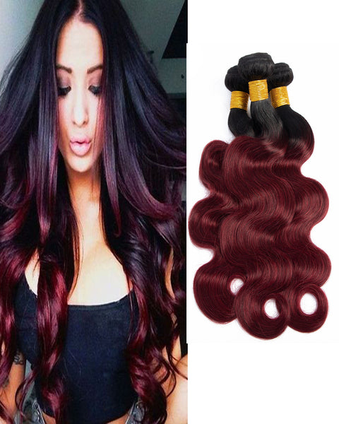 Ombre Remy Braziian Body Wave Human Hair 3 Bundles 10-26inch 1B/99J Color