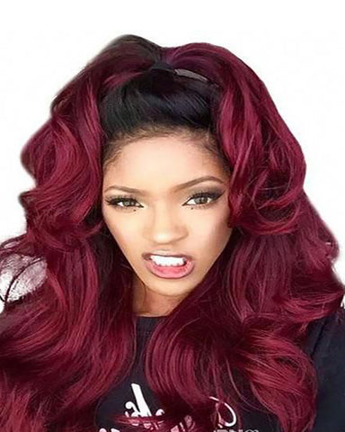 Remy Human Hair Body Wave Hair 360 Lace Frontal Wig 8-26inch 1B/99J Color