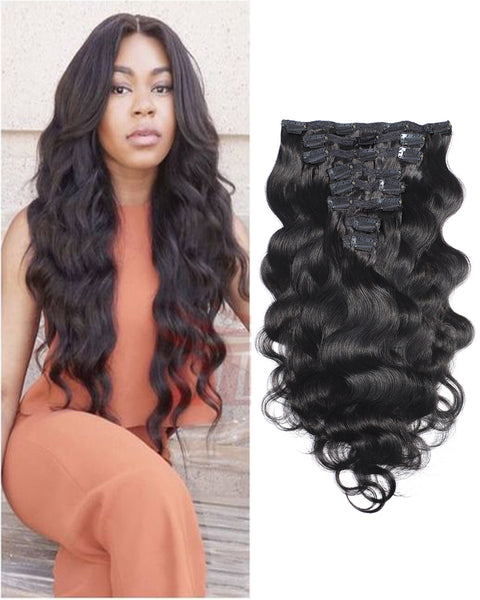 Clip In Human Hair Extensions Brazilian Remy Body Wave Hair Natural Color 8 Pieces/Set 120 grams