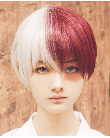 Half Silver White Half Red Cosplay Wig for Halloween