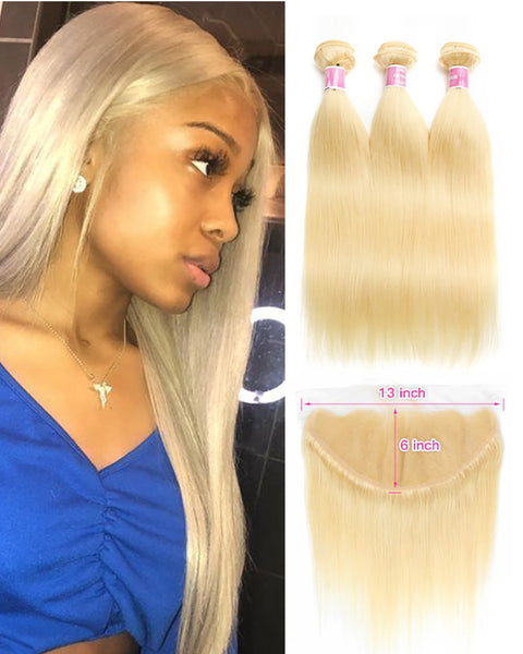Remy Brazilian Human Hair Bundles Weaves with 13x4 Lace Frontal Straight Hair 613 Color