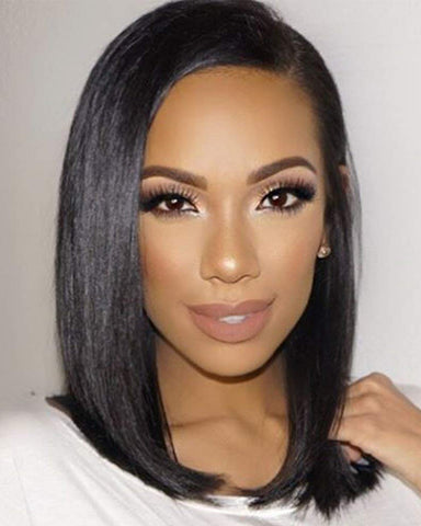 Remy Human Hair Straight Short Bob 13x4 Lace Front Wig