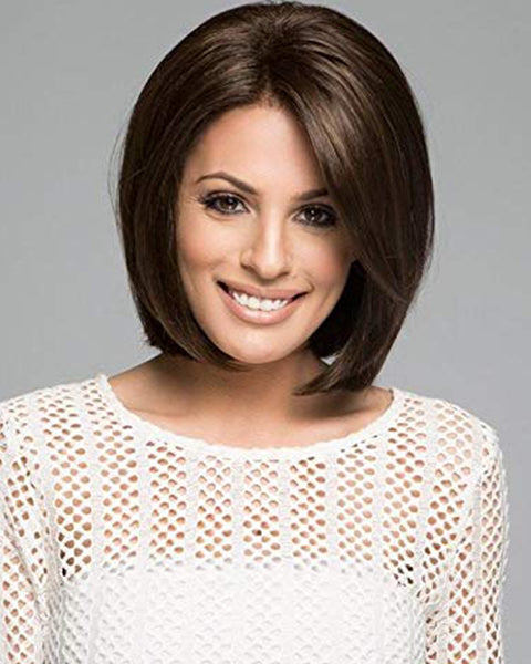 Brown Wigs for White Women Short Straight Bob Wig Natural Looking Synthetic Full Wig Costume Daily Party Hair Wigs with Wig Cap Dark Brown