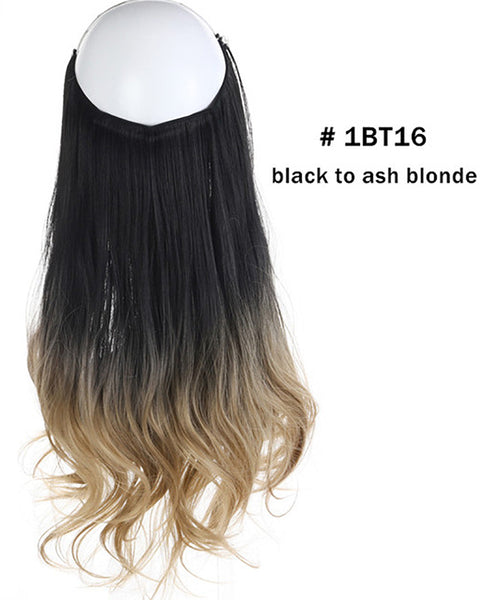 Ombre Halo Hair  Extensions 14inch 120Gram Synthetic Wave Hair