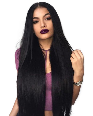 Long Straight Black Wig Middle Part Heat Resistant Fiber Hair Synthetic Wigs for Black Women