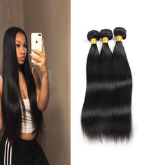 Remy Braziian Human Hair 3 Bundles 8-28inch Natural Color