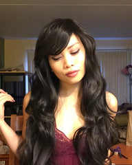 Synthetic Fiber Wigs with Free Wig Cap Black Long Curly Wavy Wig 31 Inches Hair Replacement Wig with Inclined Bangs