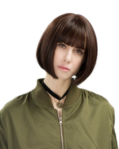 Synthetic Hair for White Black Women 11inch Short Bob Wig with bangs Black Color