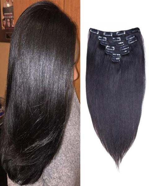 Clip In Human Hair Extensions Brazilian Remy Straight Hair Natural Color 7 Pieces/Set 100 grams
