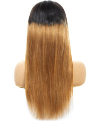 Ombre Remy Human Hair Straight 4x4 Lace Closure Wig 8-26inch 1B/27 Color