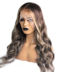 Ombre Blonde Remy Human Hair Body Wave 13x4 Lace Frontal Wig 20-24inch 1B/613 Color